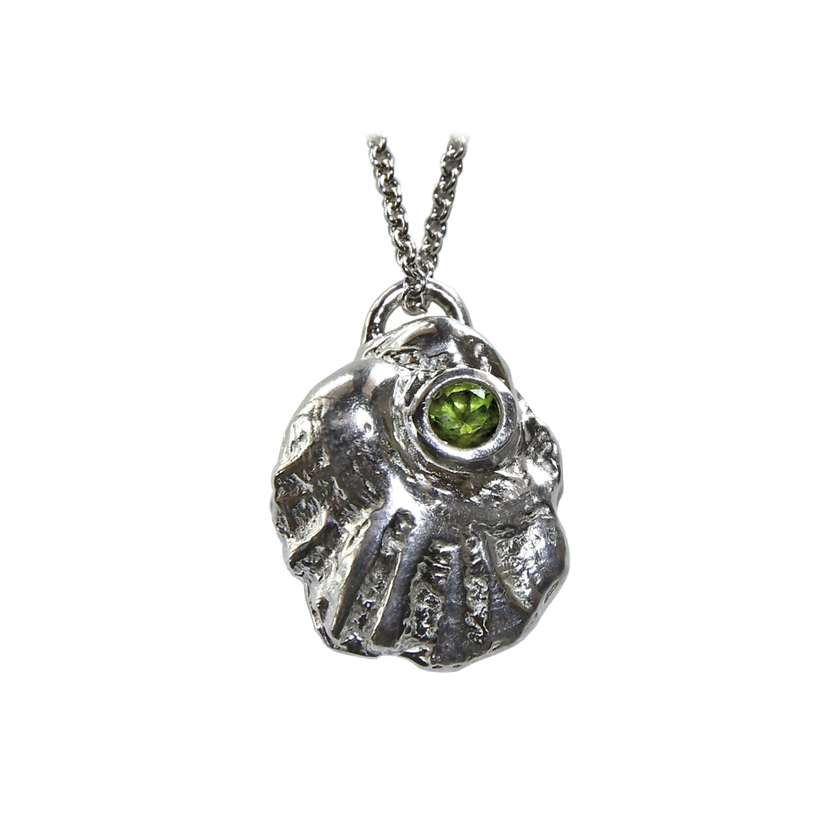 Weathered Shell Pendant w Peridot