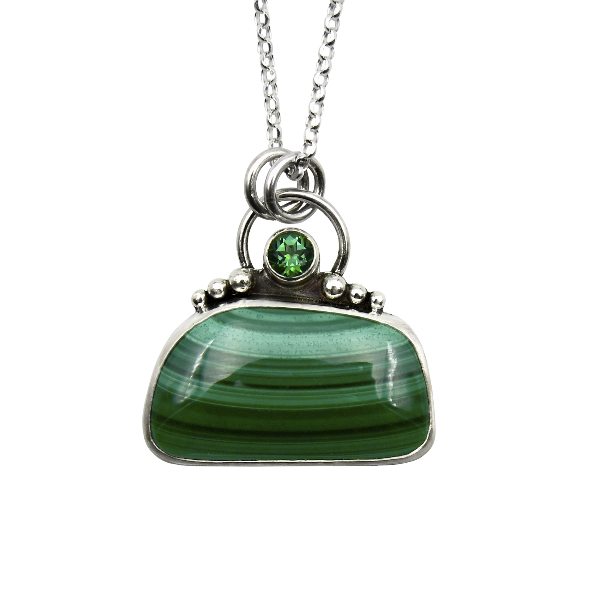 Malachite Rectangle with Rainfroest Topaz