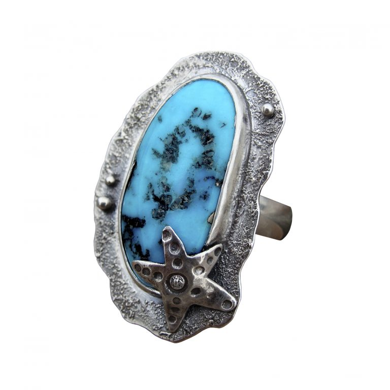 Morenic Turquoise Starfish Ring - side view