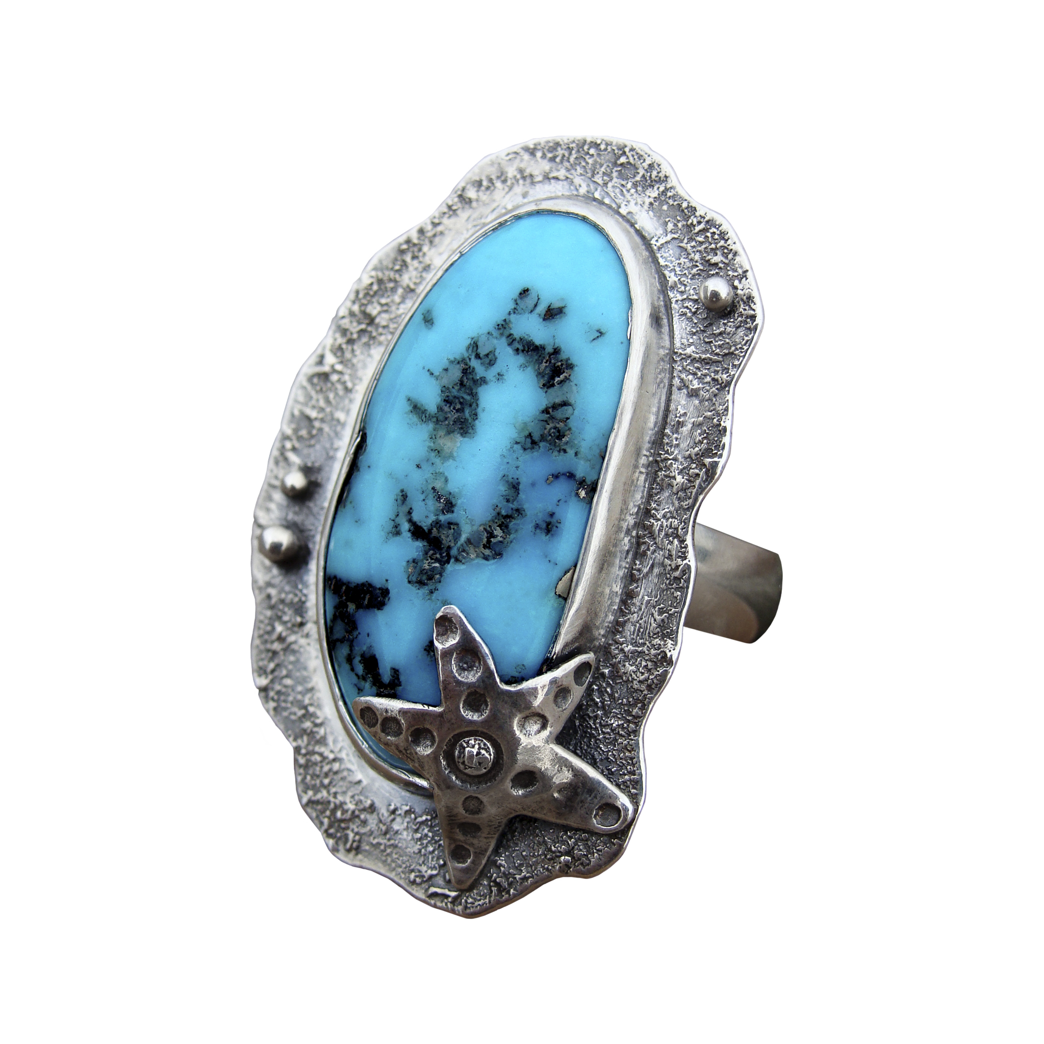 Morenci Turquoise Starfish Ring Side View