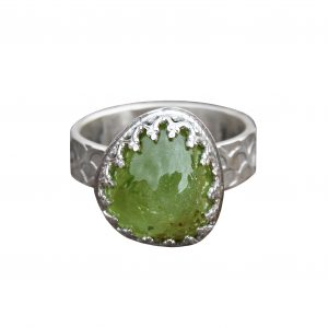 Peridot Cabochon Ring with mermaid scales textured band